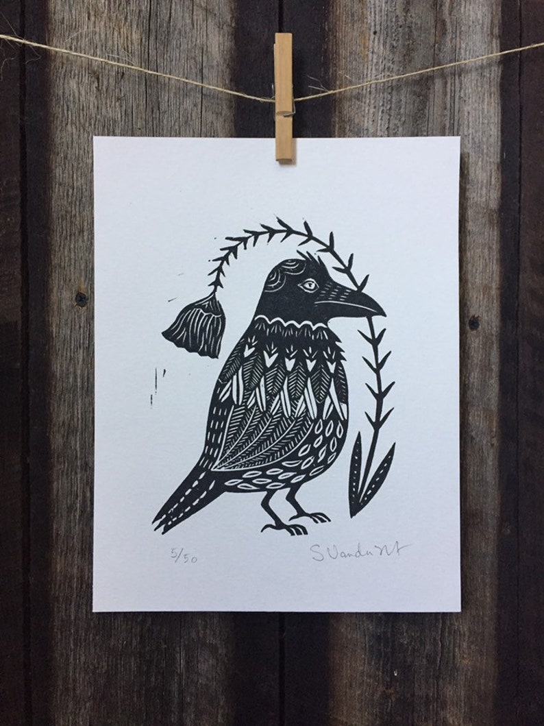 Raven Linocut Print image 0