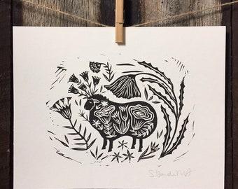 Black Sheep Linocut Print