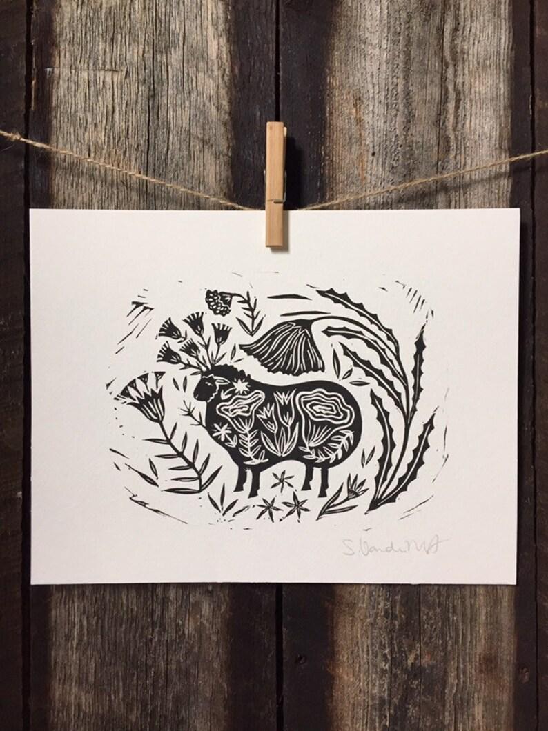 Black Sheep Linocut Print image 0