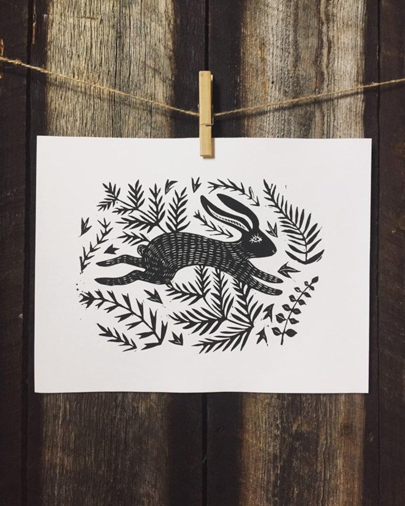 Rabbit Linocut Print image 0