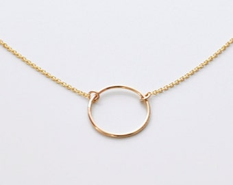Circle pendant etsy open circle necklace gold circle pendant necklace small ring necklace delicate gold necklace round gold charm halo gld aloadofball Gallery