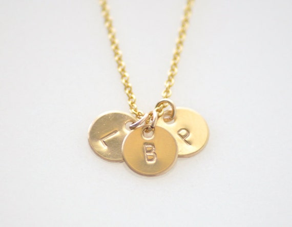 3 Initial Gold charms necklace personalized custom gold  712b7492085f
