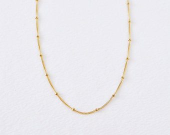Gold dotted necklace - delicate gold filled chain necklace - tiny dotted chain - simple layering gold necklace - minimal/Satellite necklace