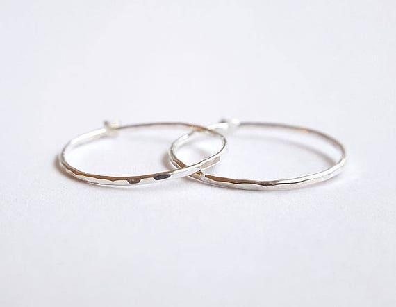f0c44462f844d Hammered sterling silver hoops - 19 mm hoops - 20 mm hoops - delicate  silver hoops - everyday sleeper earrings - medium size hoops