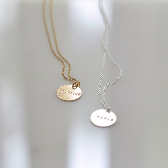 engraved gold coin necklace personalized charm necklace etsy
