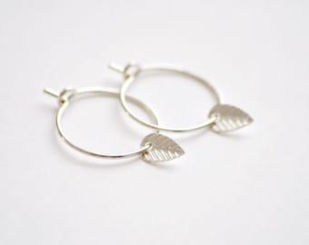 Tiny leaf hoops earrings - sterling silver drop earrings - small leaf drops - delicate small hoops - delicate earrings - simple jewelry edor