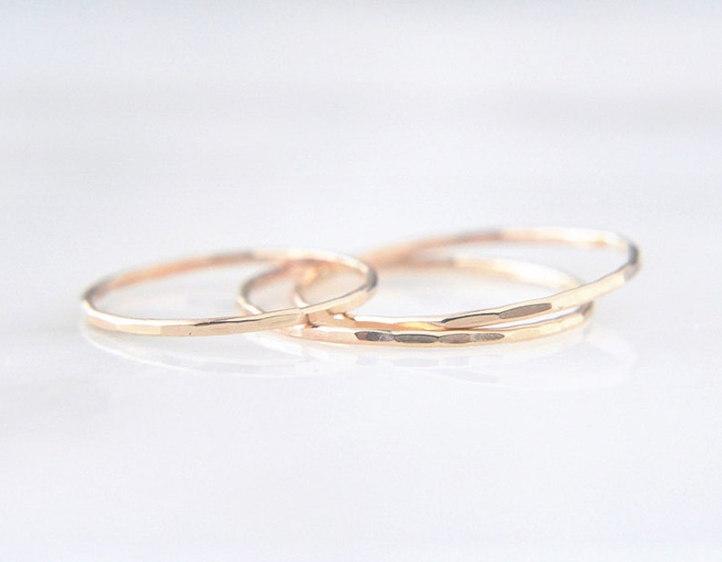 14K Yellow Gold Rings Set of 3 gold friendship rings hammered stacking set 14k faceted ring EXTRA Skinny rings