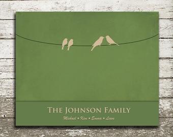Custom Family Birds on a Wire Wall Art - 8x10 Gift Print