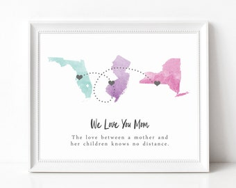Custom Moving Away Gift Print, Going Away Gift, Long Distance Best Friend Three State Map, Long Distance Relationship, Watercolor States