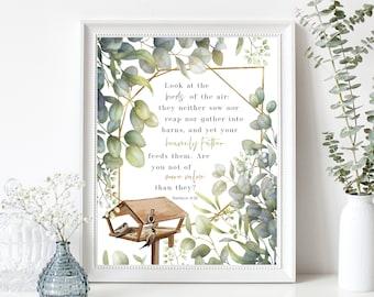 Look at the Birds of the Air Bible Verse Art Print, Matthew 6:26 Scripture Art, Bird Feeder, Encouraging Christian Gifts, Bible Quotes