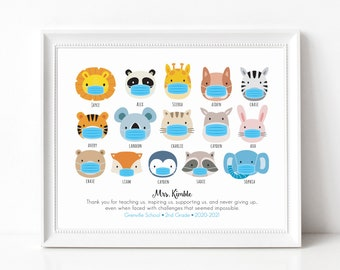 Quarantine Teacher Gift Print, Covid Teacher Appreciation Sign, Personalized with Student Names, Animals with Masks, Custom Art Print