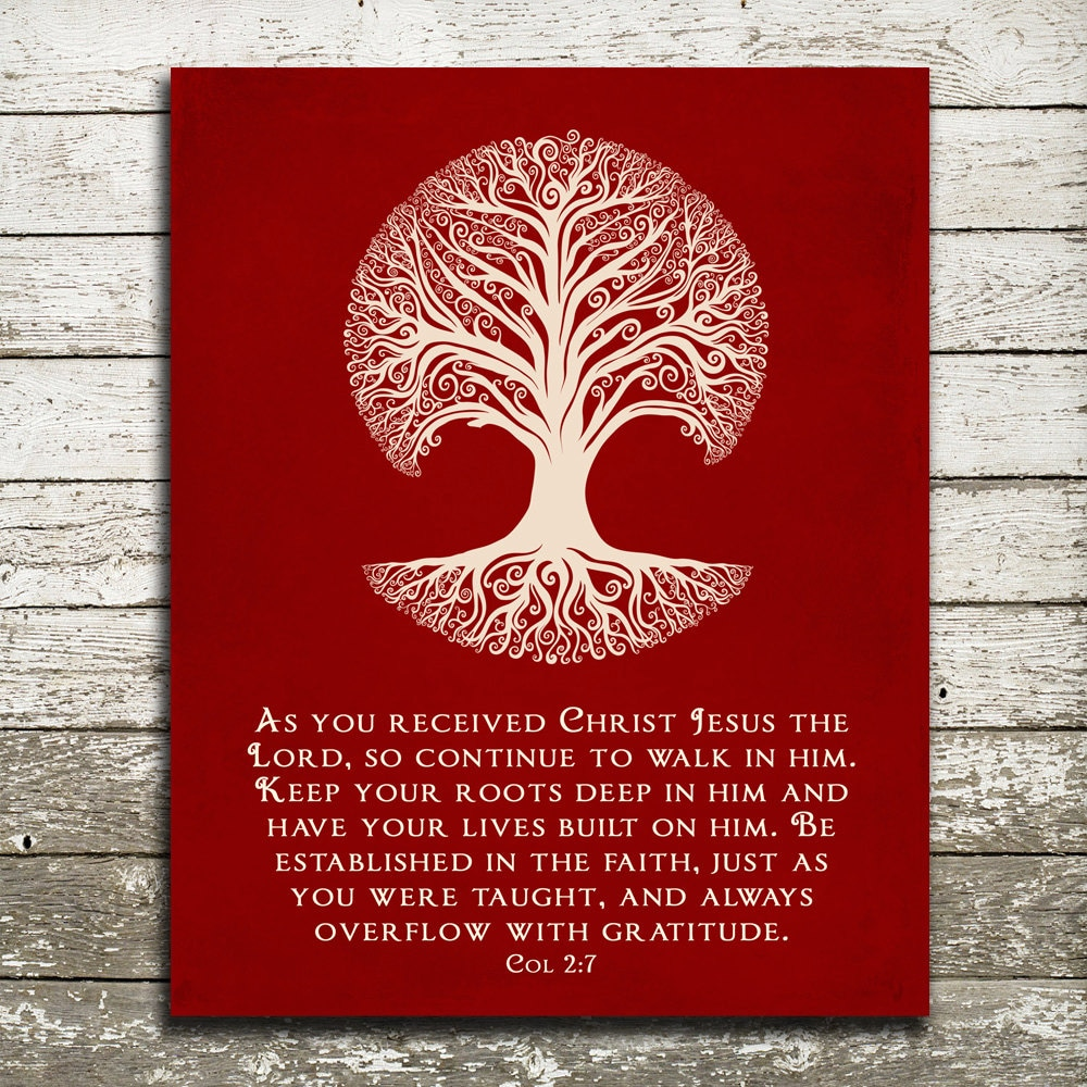 Bible Verse Wall Art Keep your roots deep in Him Colossians | Etsy