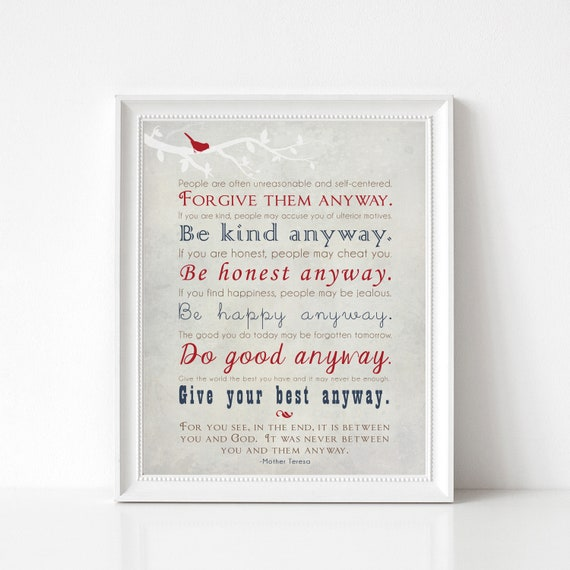 Mother Teresa Quote Wall Art Print Be Kind Anyway Gift Print Etsy