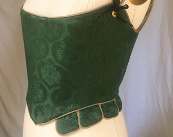 Elizabethan or Jacobean Corset in Green Brocade with Bronze Piping
