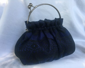 Purse in Blue with Black Scalloped Lace with 6 Inch Frame