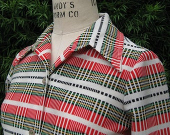 1970's Women's Plaid Shirt Jacket with Butterfly Collar Red Black and White Plaid