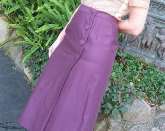 Retro Wrap Skirt in Purple Wool With 4 Covered Buttons