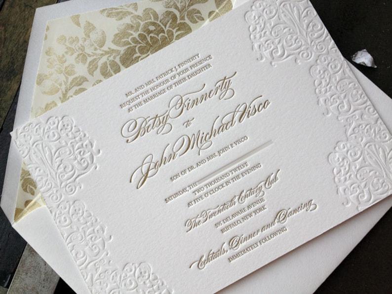 Elegant Gold Letterpress Wedding Invitation Suite Classic And Betsy John Set