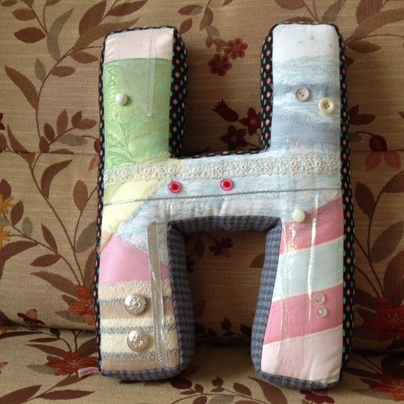 Plush letter 'H' in pastel colours - free shipping