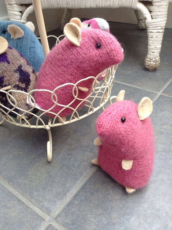Pnk plush hamster made from recycled jumper sweater