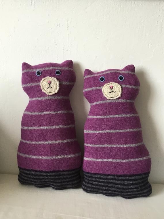 Flat Cat soft toy handmade recycled woollen kitten - purple tabby