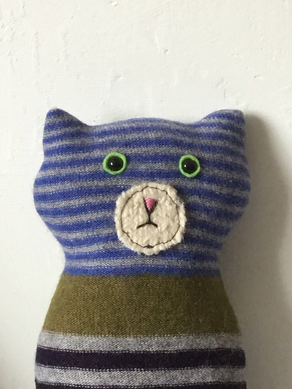 Flat Cat soft toy handmade recycled woollen kitten - Blue with stripes