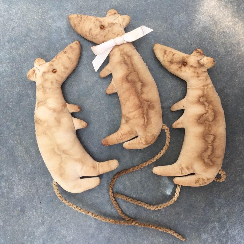 Very raggy art doll rat primative aged OOAK image 0