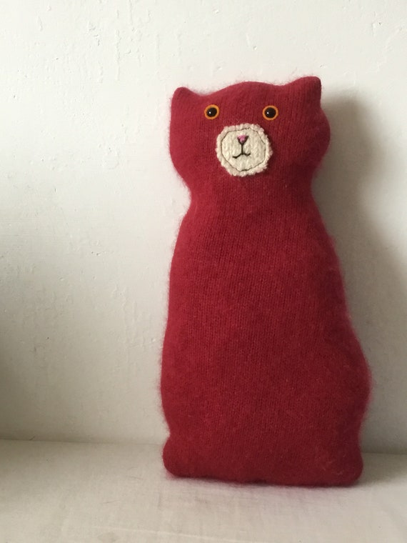 Flat Cat soft toy handmade recycled woollen kitten - red cashmere ...