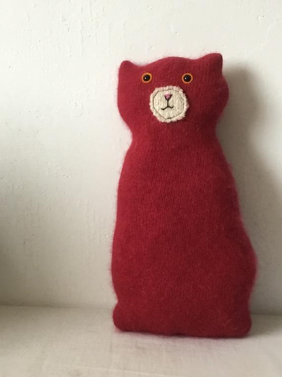 Flat Cat soft toy handmade recycled woollen kitten - red cashmere ...