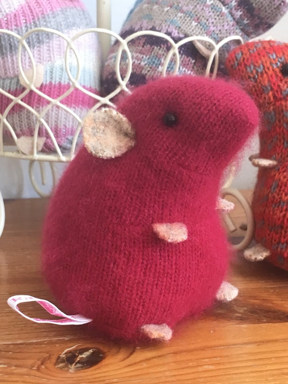 Red cashmere soft plush hamster made from recycled jumper sweater