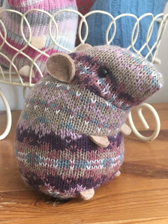 Grey lavendar pretty plush hamster made from recycled jumper sweater