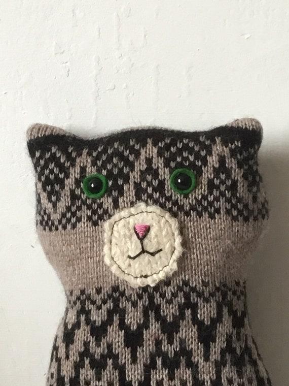 Flat Cat soft toy handmade recycled woollen kitten - tabby