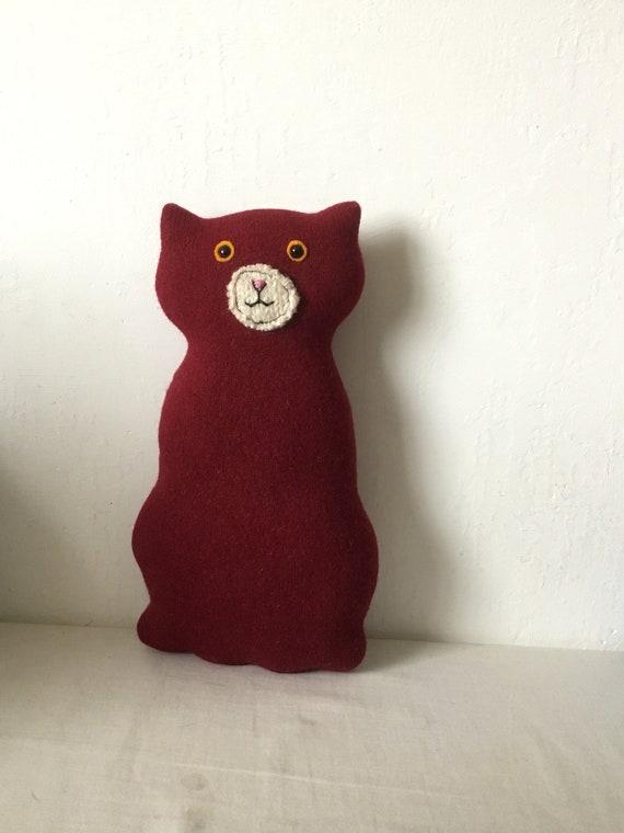 Flat Cat soft toy handmade recycled woollen kitten - red wine fine knit