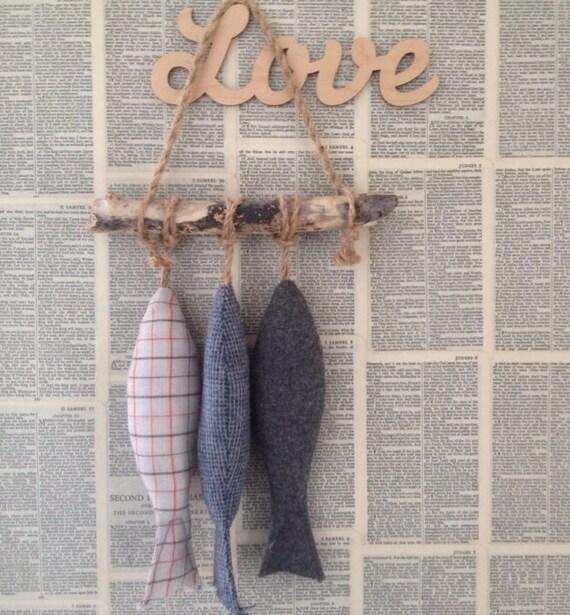 Fabric fish hanging soft sculpture raggyrat