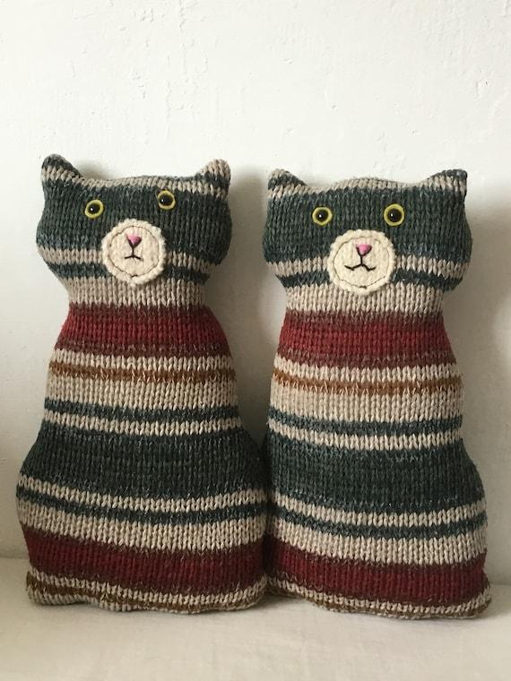 Flat Cat soft toy handmade recycled woollen kitten - colourful tabby boys