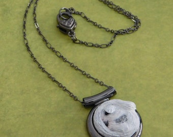 Sugar Glider Joey - Leu Glider on Gunmetal Pendant with Matching Necklace Chain - Polymer Clay Art