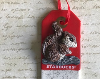 Starbucks Gift Tag Ornament with Hand Sculpted Squirrel  -  Collectible Squirrel Ornament
