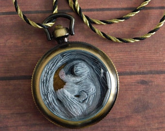 Classic Grey Sugar Glider in Pocket Watch Necklace - Polymer Clay Art