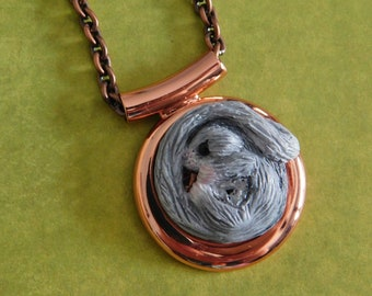 Sugar Glider Joey - Mosaic Glider on Copper Pendant with Matching Necklace Chain - Polymer Clay Art