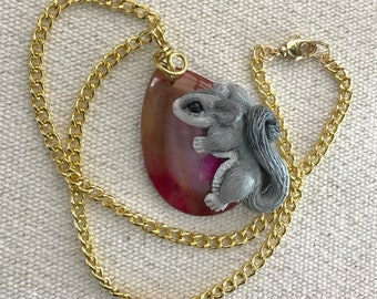 Hand-Sculpted Sugar Glider on Geode Pendant - Red and Purple colored geode -Gold Plated Brass Chain