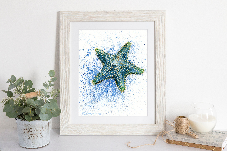 Blue Starfish nautical nursery coastal wall art trending | Etsy