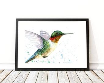 "Hummingbird - Watercolor Print - Wall Art - Home Decor - Bird Art - Animal Art - Sizes 5""x7""- 32""x40"""