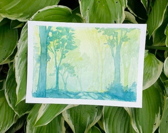 """Magical Forest - Watercolor Print - Wall Art - Home Decor - Forest Art - Landscape - Nature - Sizes 5""""x7""""- 32""""x40"""""""