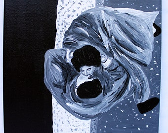 On Top of Manhattan 8x10 acrylic black and white painting of lovers kissing