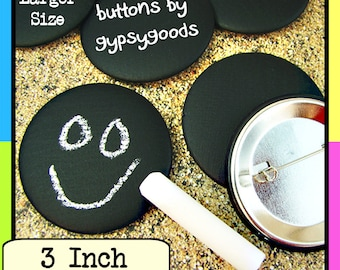 "3"" Sets of (1)-(2)-(4)-(6)-(8)-(10)-(12) Chalk Board Pin Back, Blackboard Badges, Wedding,Name Tags,Place Cards, Favors, Corporate Giveaways"