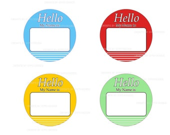"2.25"" Name Tag Buttons Qty. (12) Pin Back Buttons Mylar covered printed image for corporate meetings, party name tags, giveaways my name is"