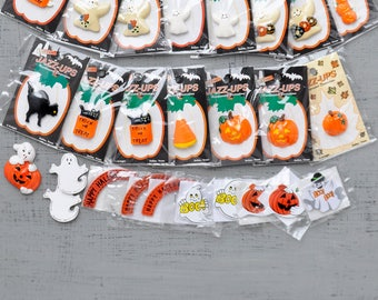 16 Halloween Jazz-Ups Embellishments - flat back resin and wood cabs - ghosts, pumpkins, black cats, candy corn - new in package