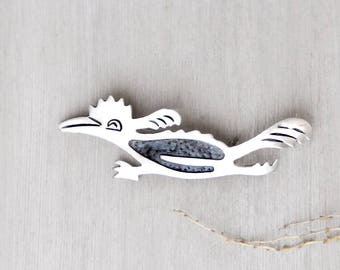Vintage Taxco Roadrunner Brooch - 925 Mexican sterling silver bird pin - Mexico JRC eagle 3 mark