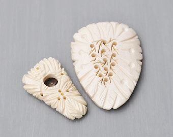 SALE! 2 Vintage Carved Bone Clips - dress or shoe clip lot - shield shaped with pierced holes leaves - made in Japan
