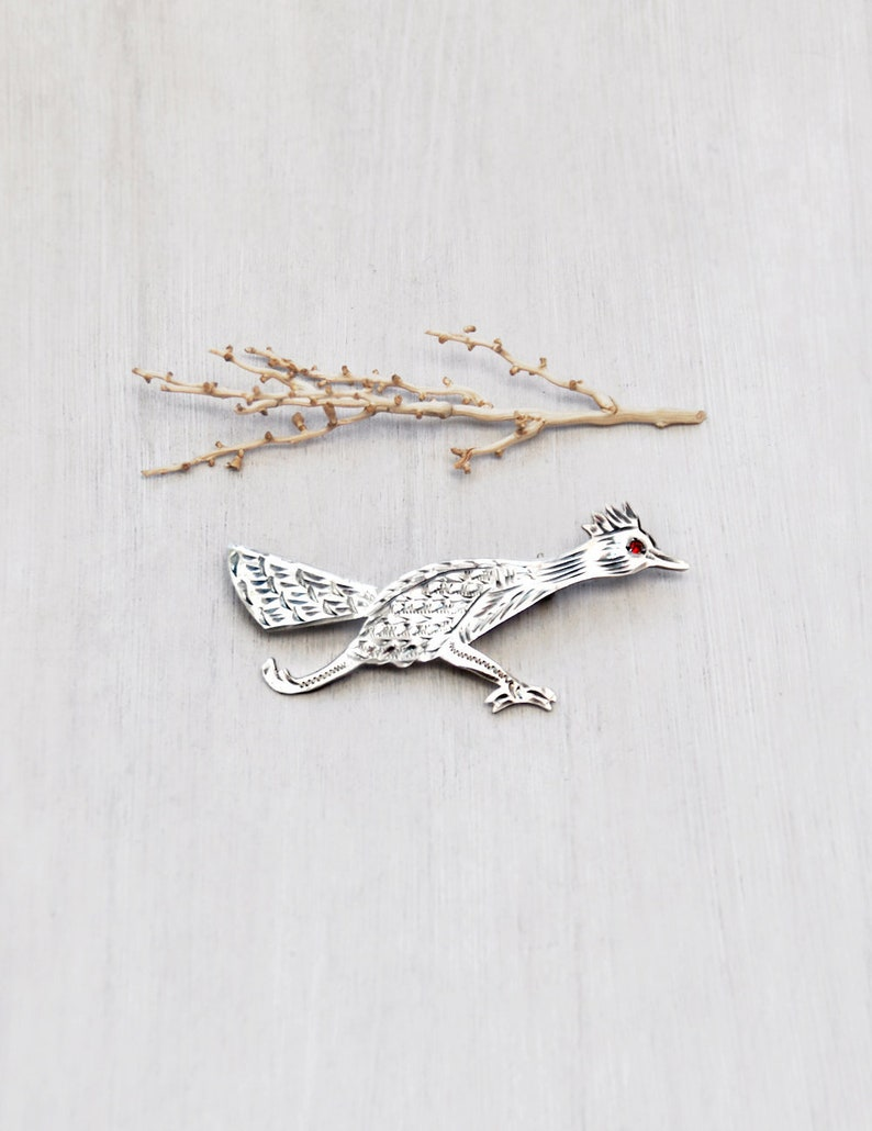 Fine Jewelry Vtg Mexico 925 Sterling Silver Gemstone Inlay Abstract Bird Large Pin Brooch